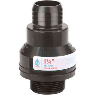 Drainage Industries 1-1/4 In. ABS Thermoplastic Full-Flow Sump Pump Check Valve