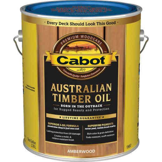Cabot Australian Timber Oil Water Reducible Translucent Exterior Oil Finish, Amberwood, 1 Gal.